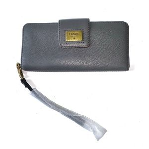 FOSSIL WALLET GREY GRAY MADISON BIFOLD LEATHER